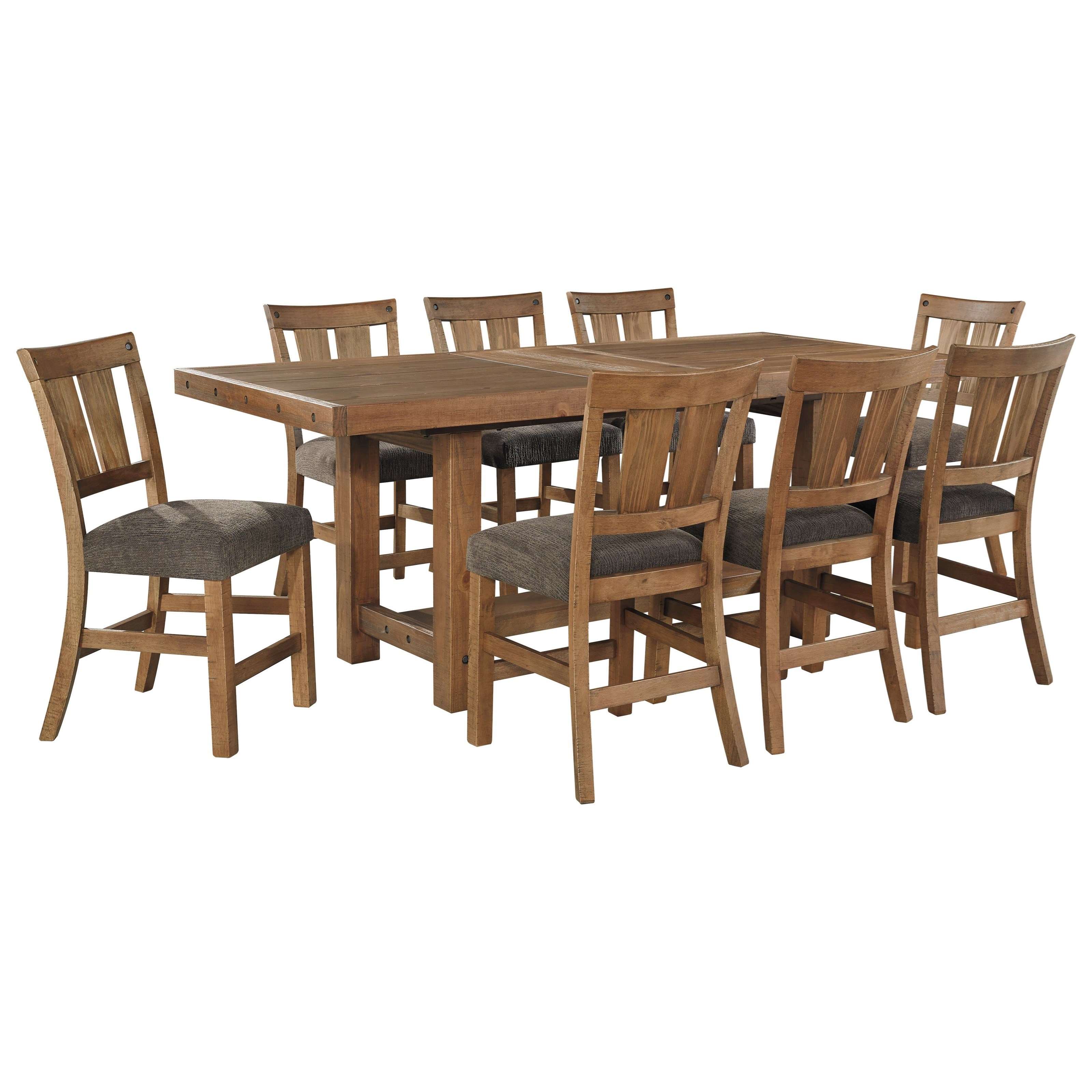 Signature Design by Ashley Tamilo 9 Piece Counter Extension Table Set - Item Number: D714-32+8x124
