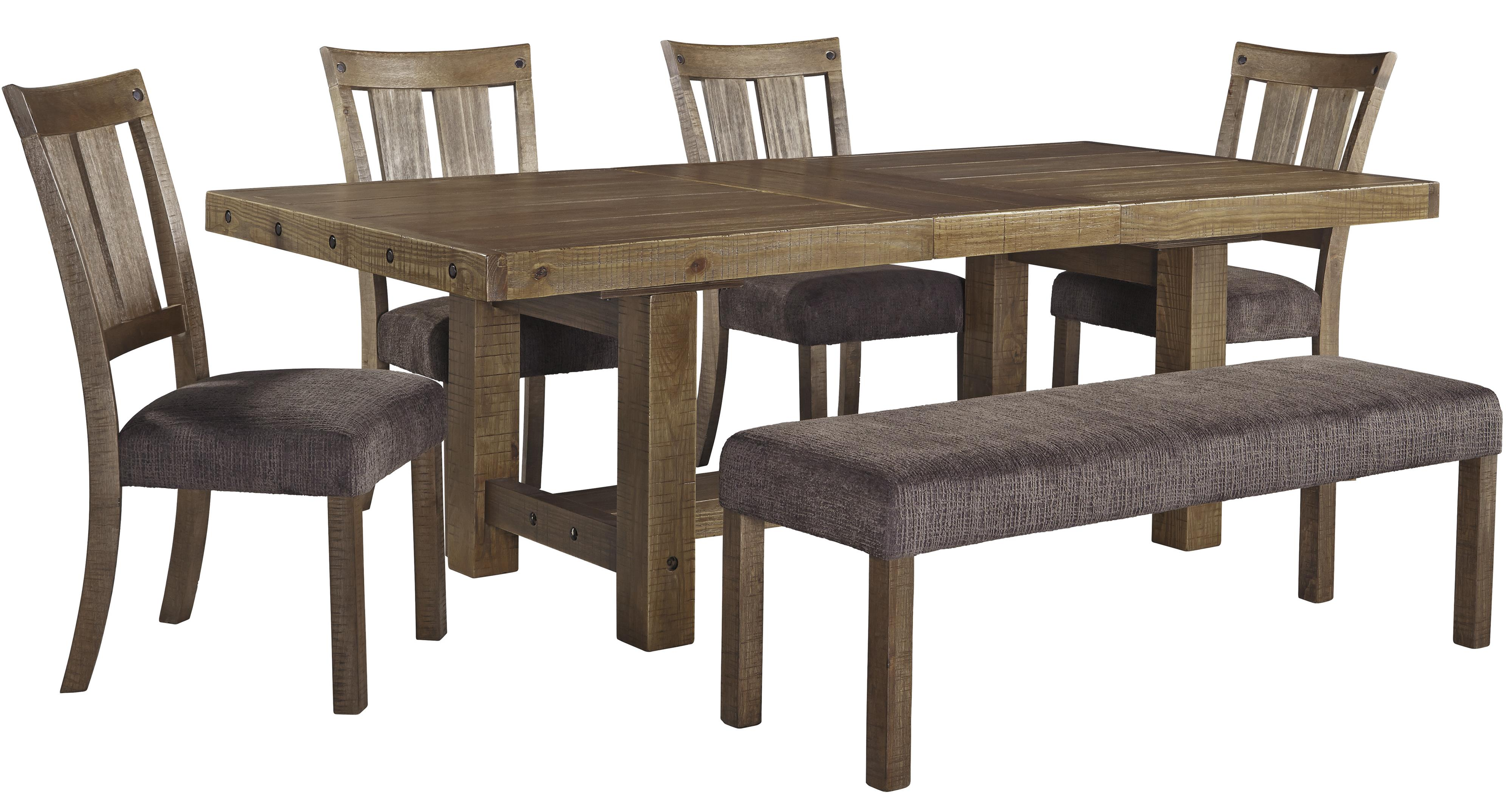 Signature Design by Ashley Tamilo 6 Piece Table & Chair Set with Bench - Item Number: D714-45+4x01+00