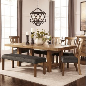 Signature Design by Ashley Tamilo 7 Piece Table & Chair Set with Bench