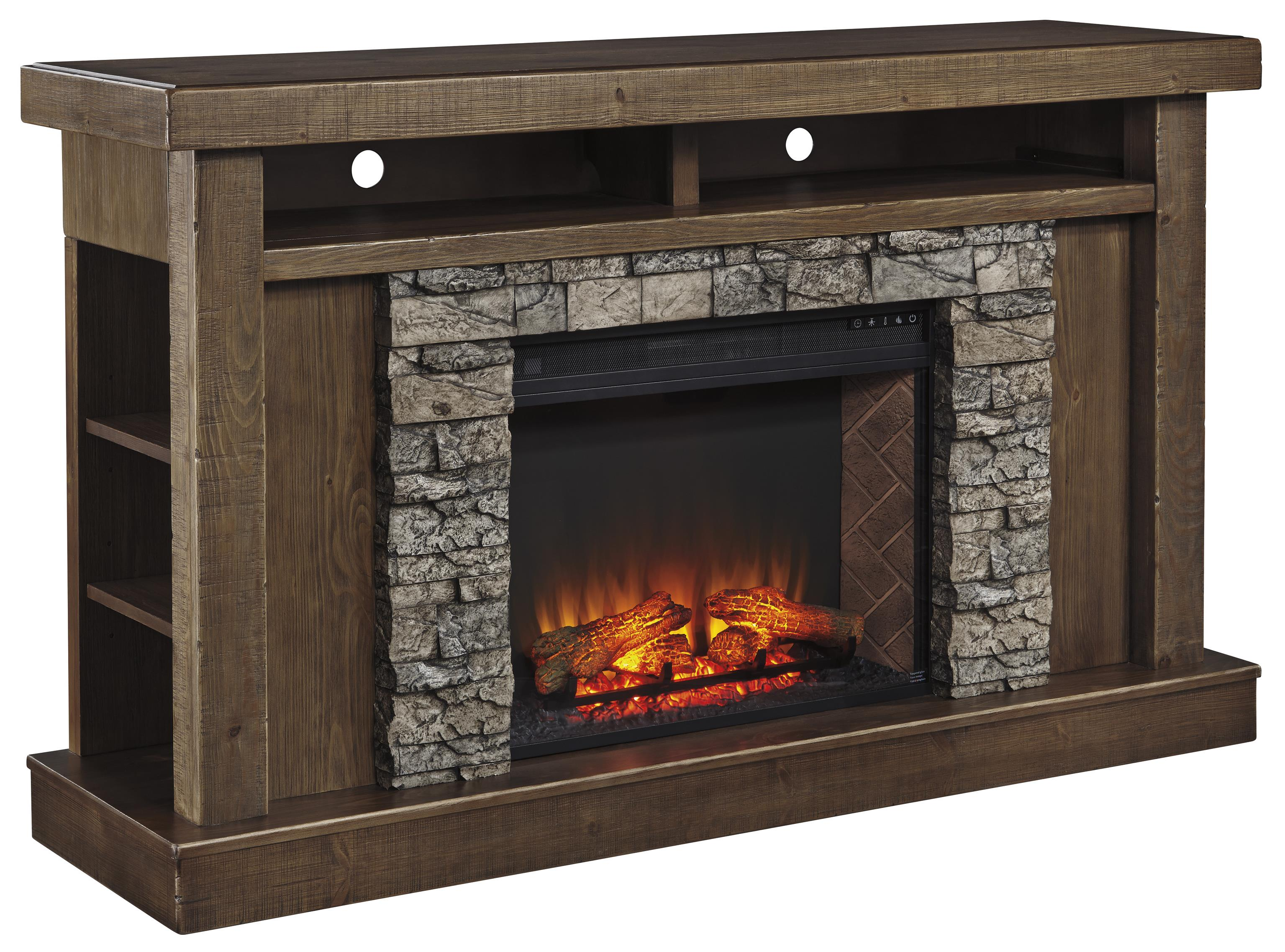 Signature Design by Ashley Tamilo Fireplace Surround with Electric Insert - Item Number: W714-68+W100-21