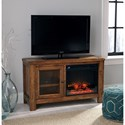Signature Design by Ashley Tamonie Rustic Mango Veneer TV Stand with Fireplace Insert
