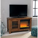 Signature Design by Ashley Tamonie Rustic Mango Veneer TV Stand with Contemporary Fireplace Insert