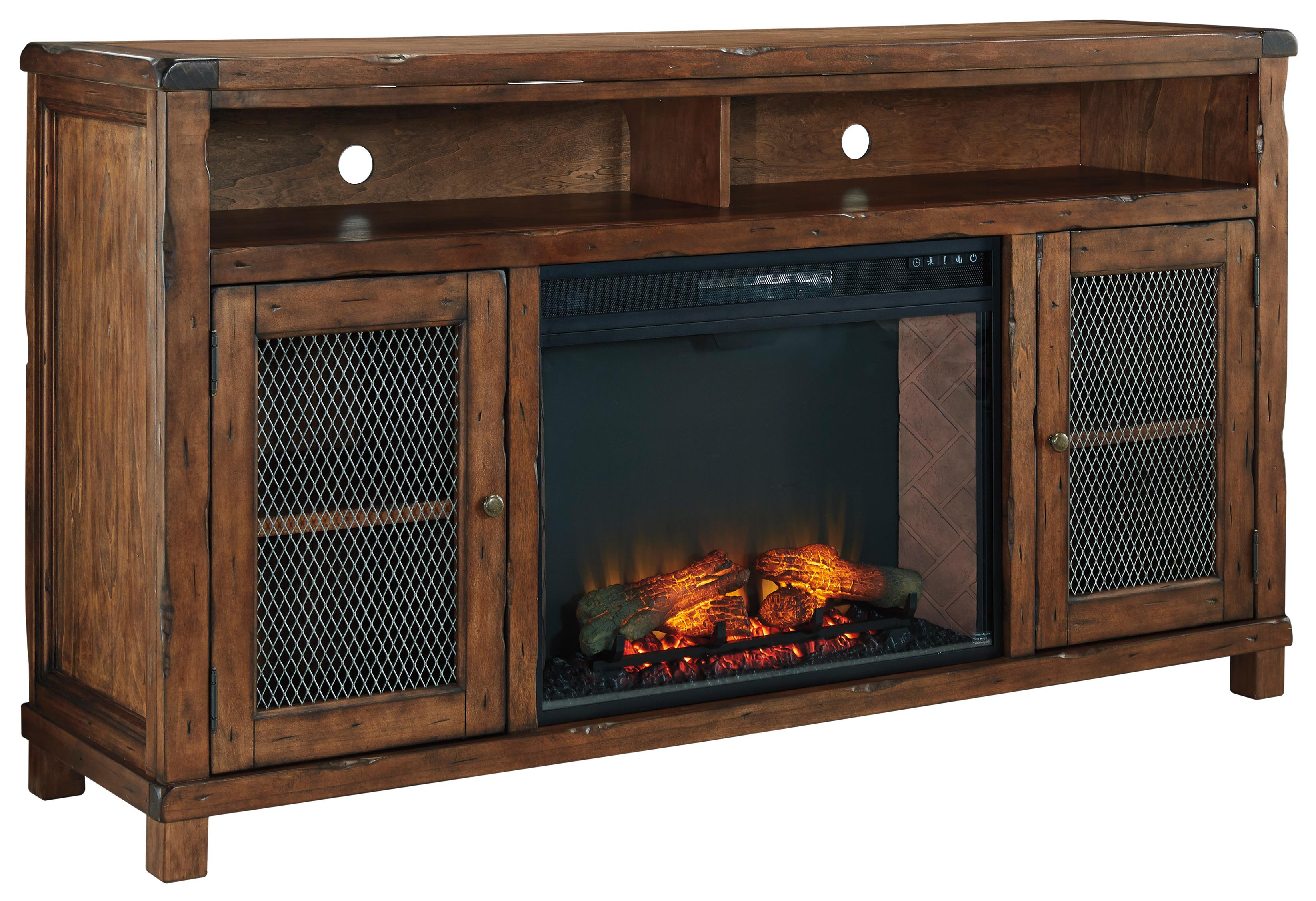 Signature Design by Ashley Tamonie XL TV Stand with Electric Fireplace Insert - Item Number: W830-68+W100-21