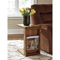 Signature Design by Ashley Tamonie Rustic C-Shape Chair Side End Table with Wire Mesh