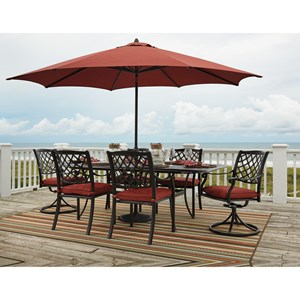Signature Design by Ashley Tanglevale Outdoor Dining Table Set w/ Umbrella