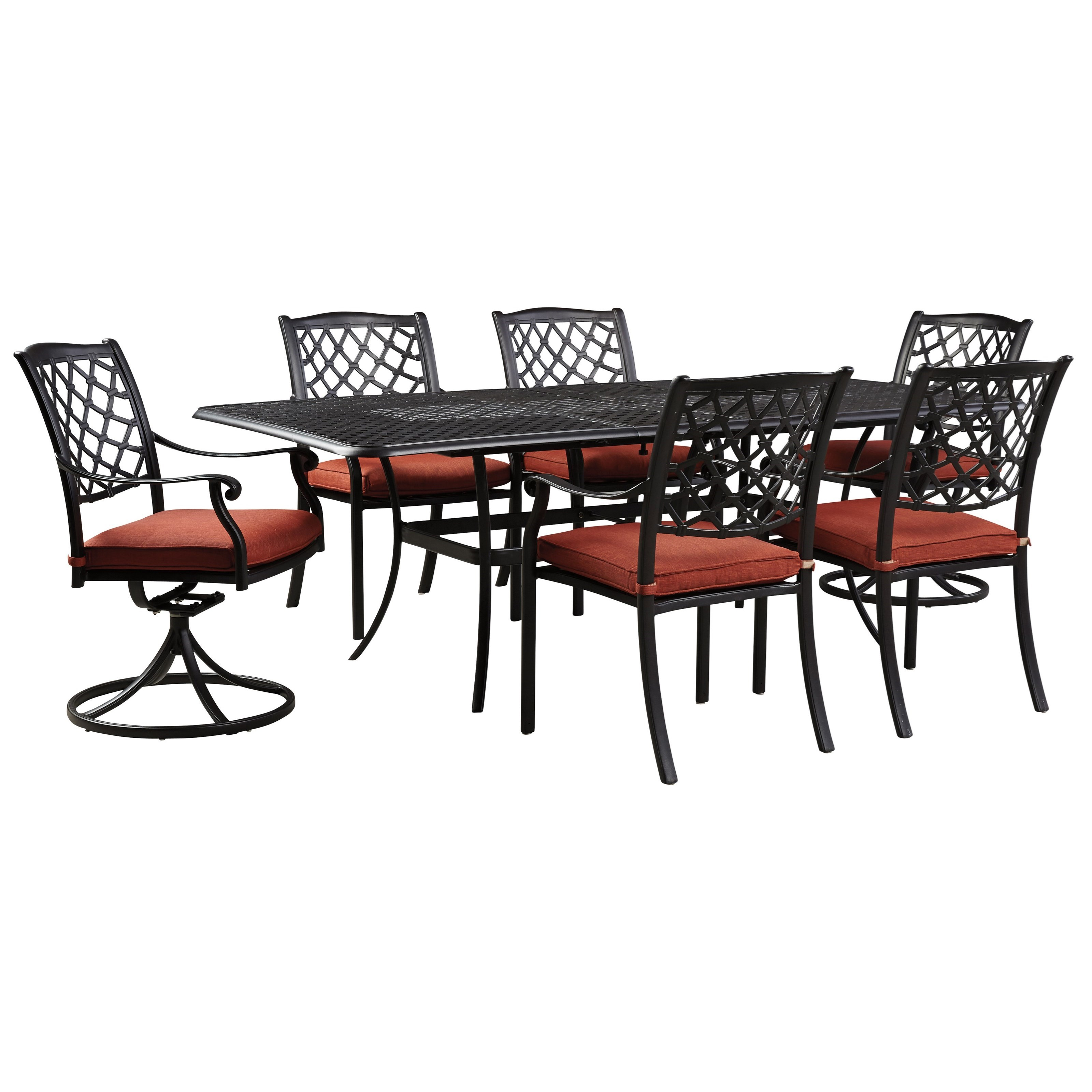 Signature Design by Ashley Tanglevale Outdoor Dining Table Set - Item Number: P557-635+602A+601A