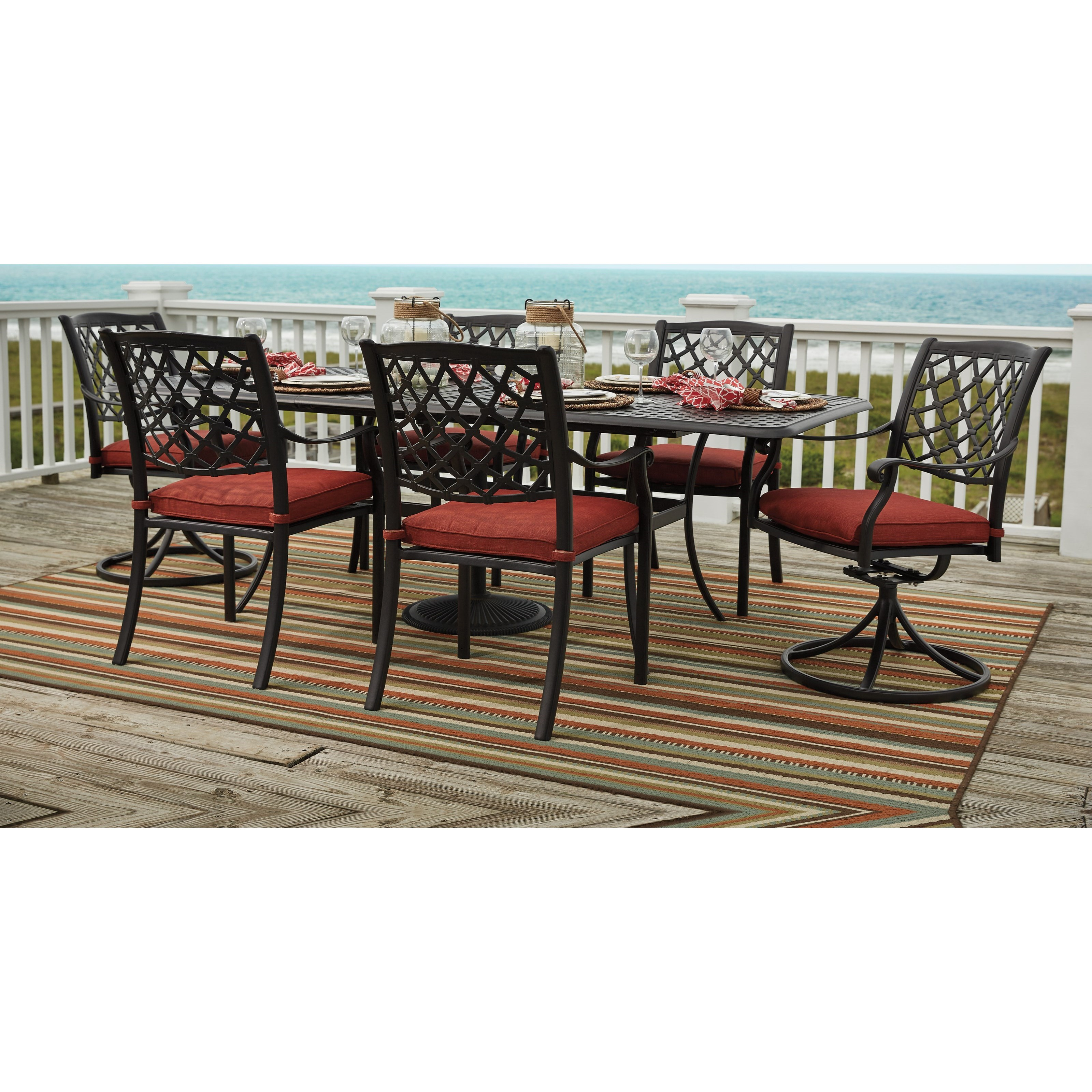 by Ashley Tanglevale Outdoor Dining Table Set - Becker Furniture ...