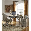 Signature Design by Ashley Tanshire Gray Brown Finish Home Office Swivel Desk Chair