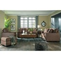 Signature Design by Ashley Terrington Faux Leather Ottoman with Piecrust Welt Trim