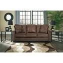 Signature Design by Ashley Terrington Faux Leather Queen Sofa Sleeper with Memory Foam Mattress & Piecrust Welt Trim