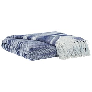 Signature Design by Ashley Throws Agustin White/Blue Throw