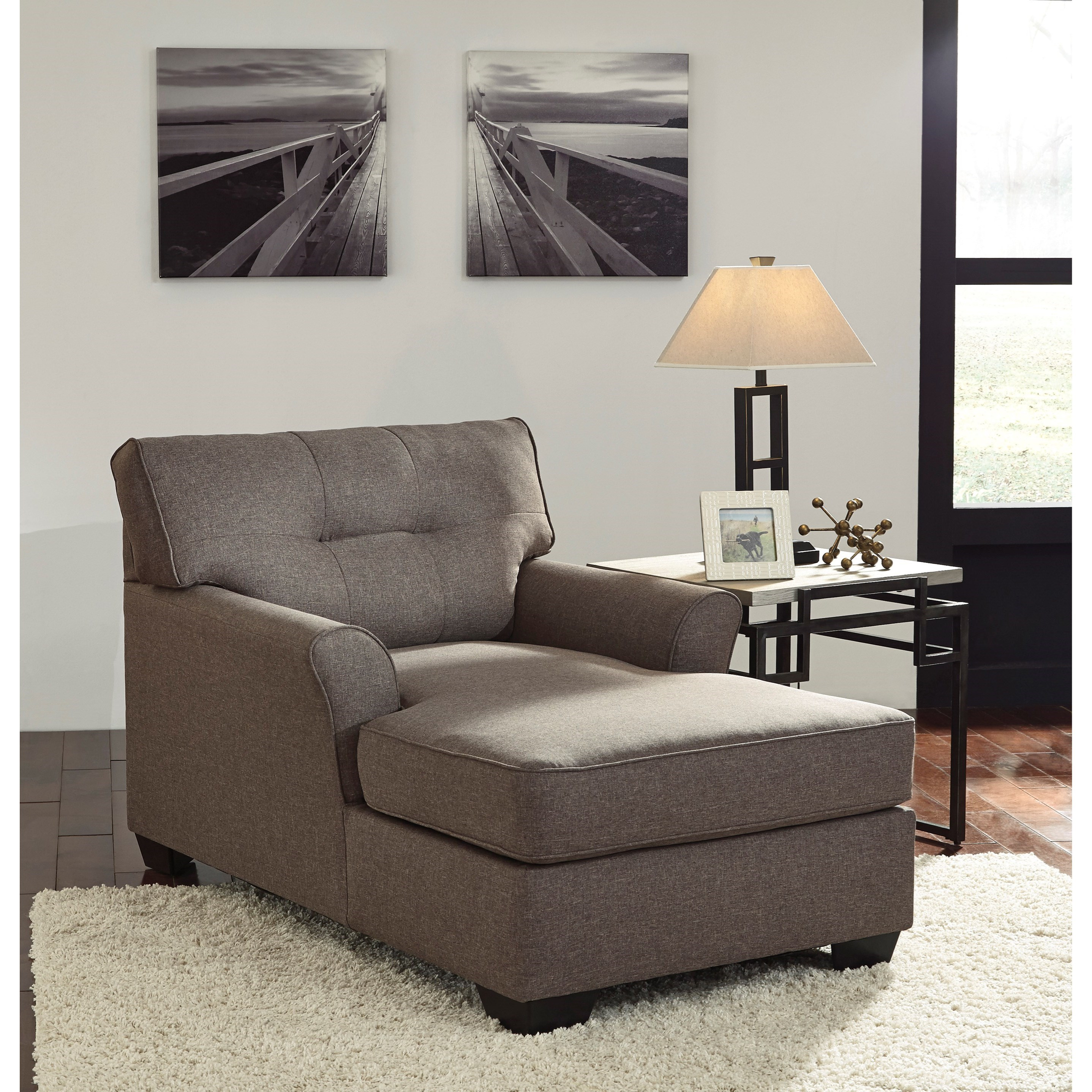 living room with chaise signature design by tibbee 9910115 contemporary 15177