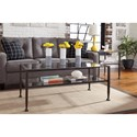 Signature Design by Ashley Tivion Wrought Look Metal Rectangular End Table with Clear Tempered Glass Top & Shelf