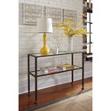Signature Design by Ashley Tivion Wrought Look Metal Sofa Table with Clear Tempered Glass Top & Shelf