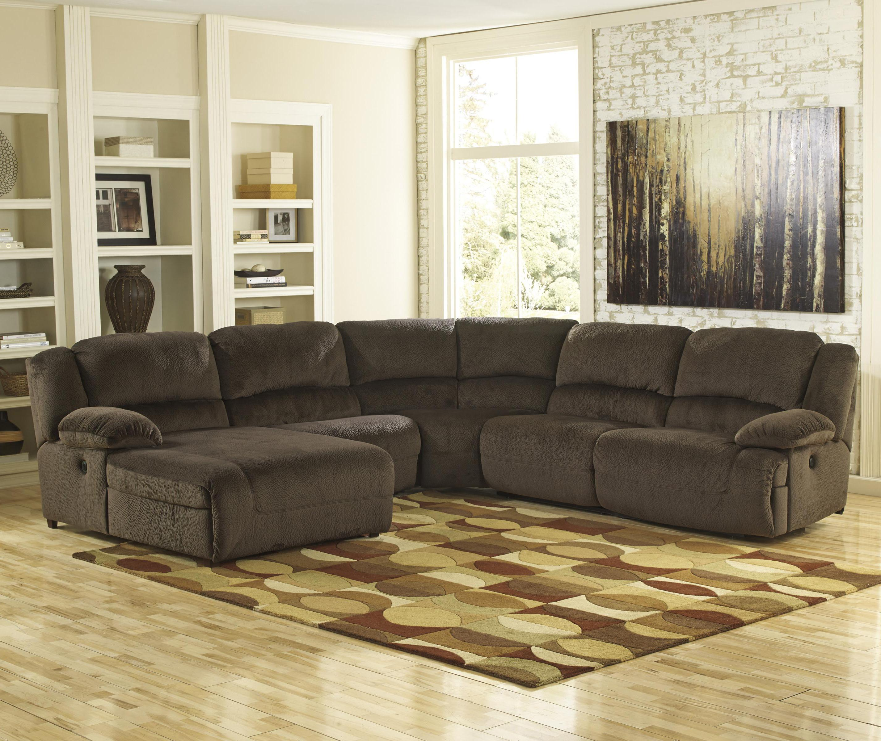 Signature design by ashley toletta chocolate reclining for Ashley sectionals with chaise