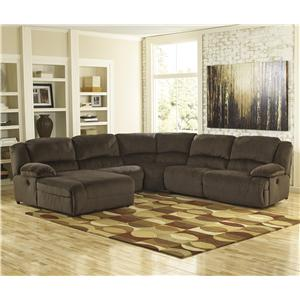 Signature Design by Ashley Toletta - Chocolate Reclining Sectional with Chaise