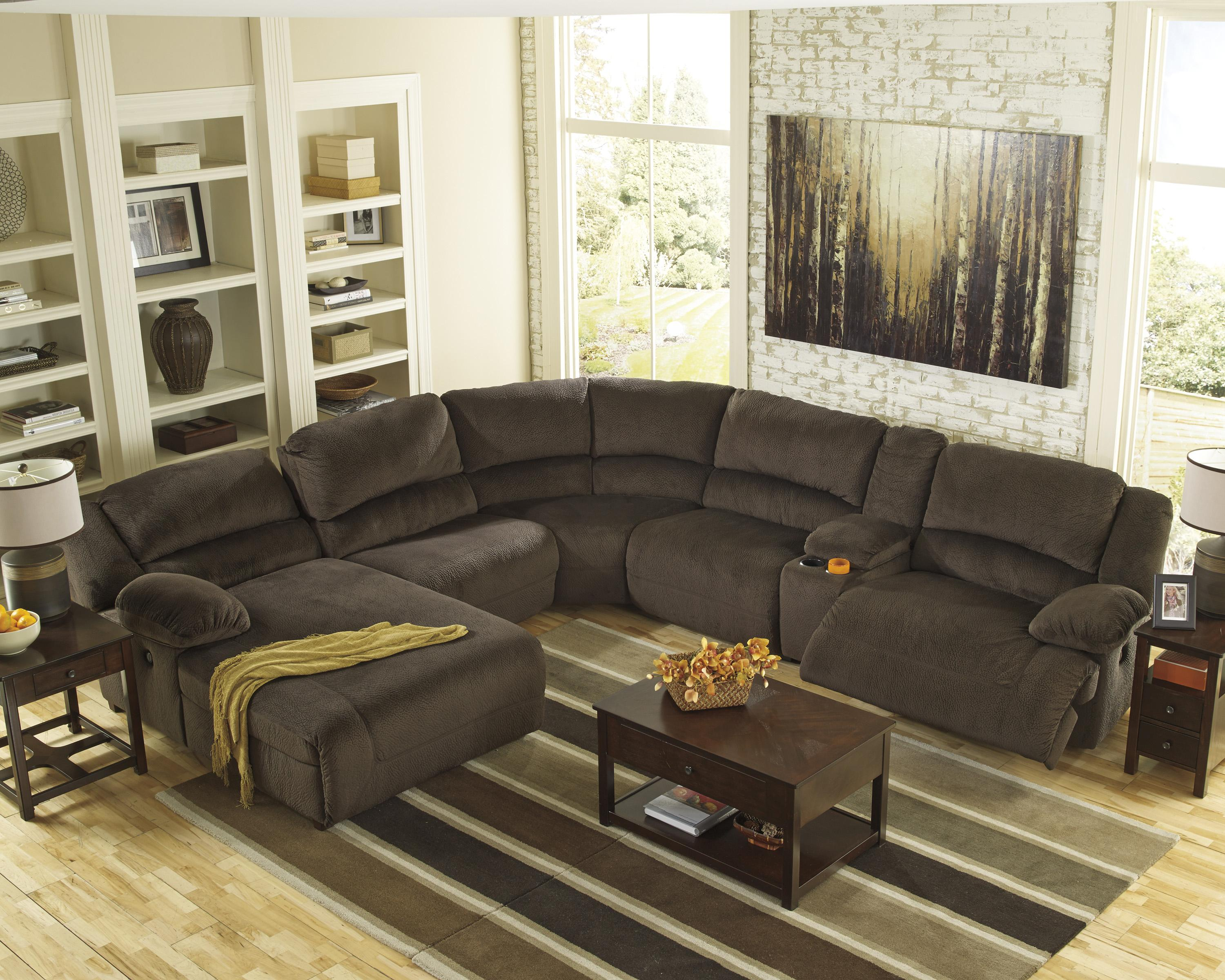 Ashley signature design toletta chocolate reclining for Ashley reclining chaise