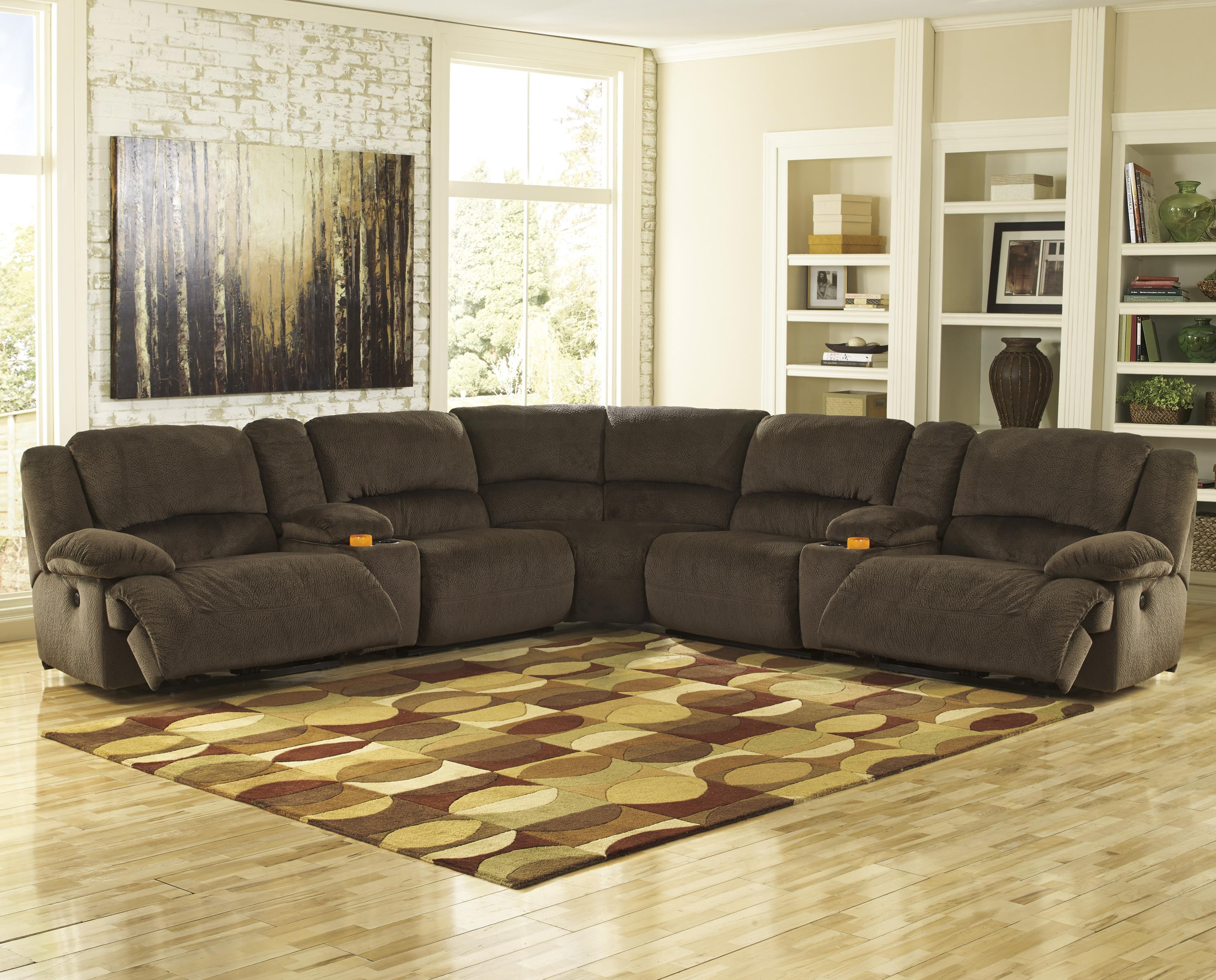 Signature Design by Ashley Toletta - Chocolate Sectional w/ Consoles & Armless Recliners - Item Number: 5670140+2x57+2x19+77+41