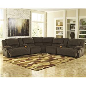 Signature Design by Ashley Toletta - Chocolate Sectional w/ Consoles & Armless Recliners