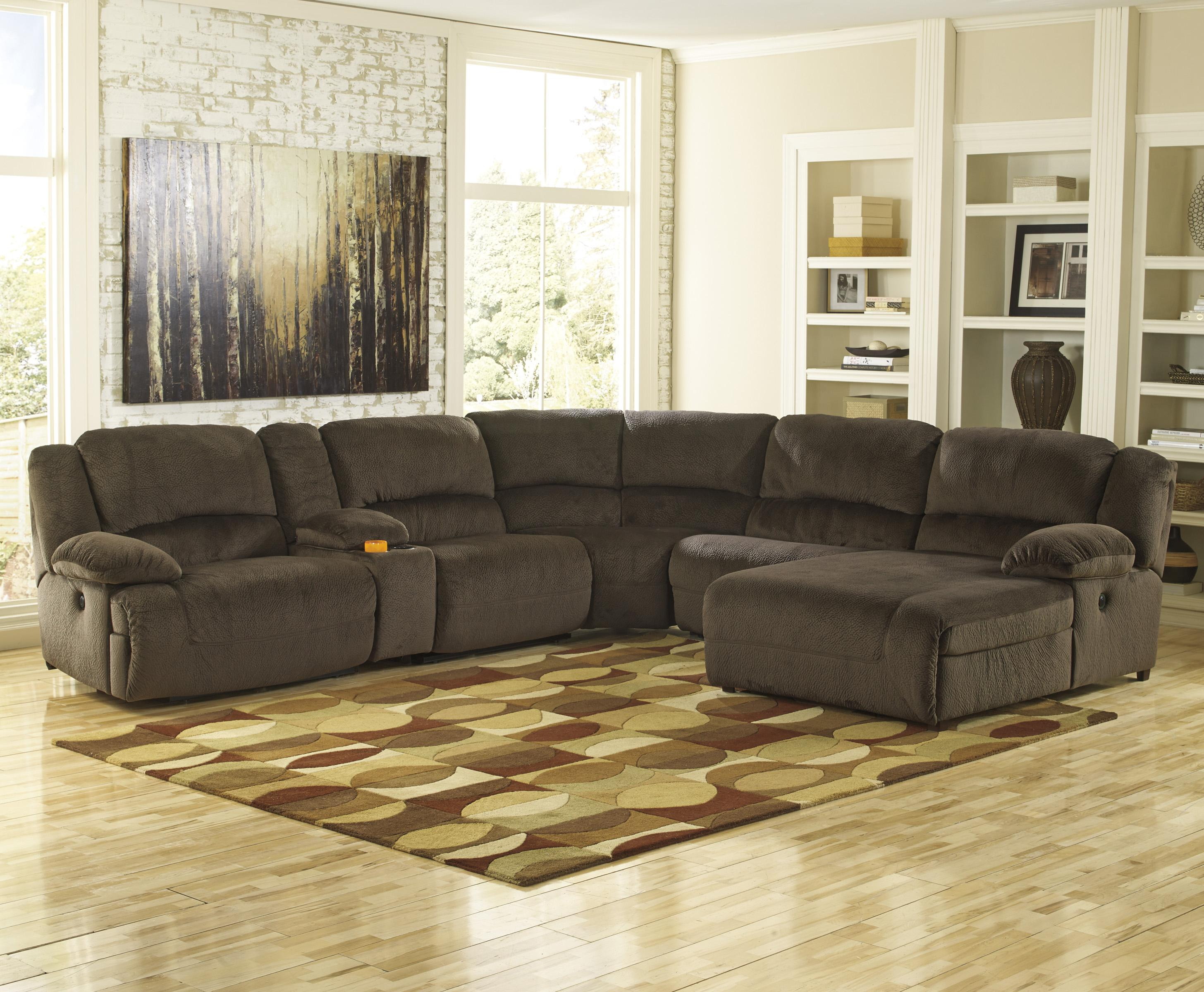Signature Design by Ashley Toletta - Chocolate Power Recl. Sectional w/ Console & Chaise - Item Number: 5670158+57+19+77+46+97