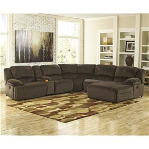 Signature Design by Ashley Toletta - Chocolate Power Recl. Sectional w/ Console & Chaise