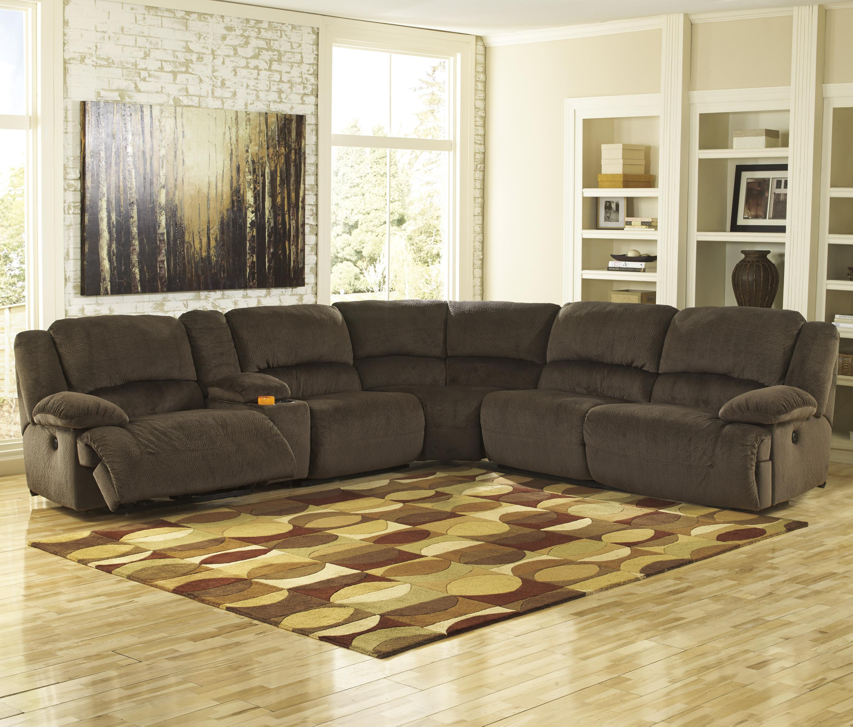 Signature Design by Ashley Toletta - Chocolate Power Reclining Sectional with Console - Item Number: 5670158+57+2x46+77+62