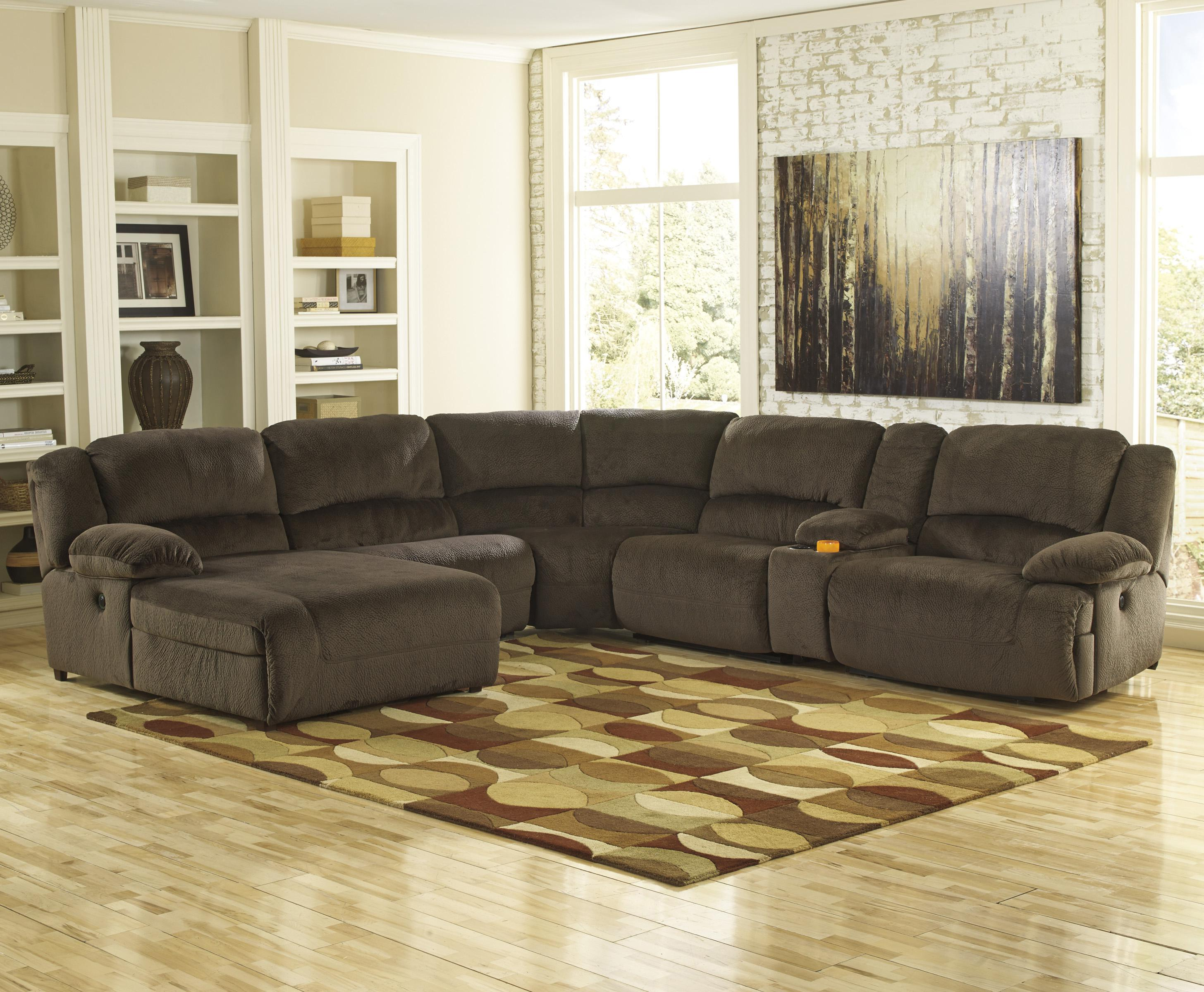 Signature Design by Ashley Toletta - Chocolate Reclining Sectional w/ Console & Chaise - Item Number: 5670105+46+77+19+57+41