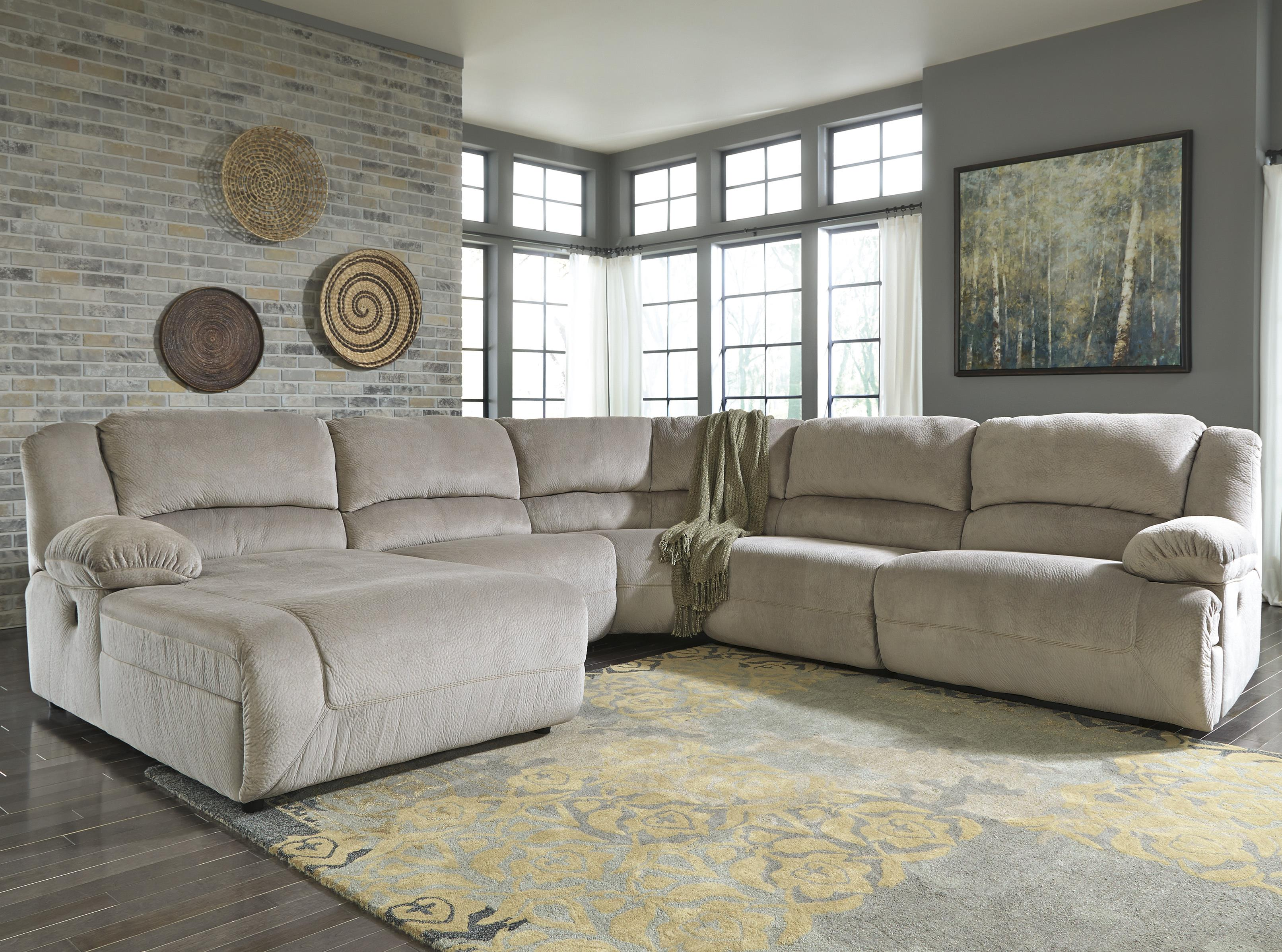 Signature Design by Ashley Toletta - Granite Reclining Sectional with Chaise - Item Number: 5670305+46+77+19+41