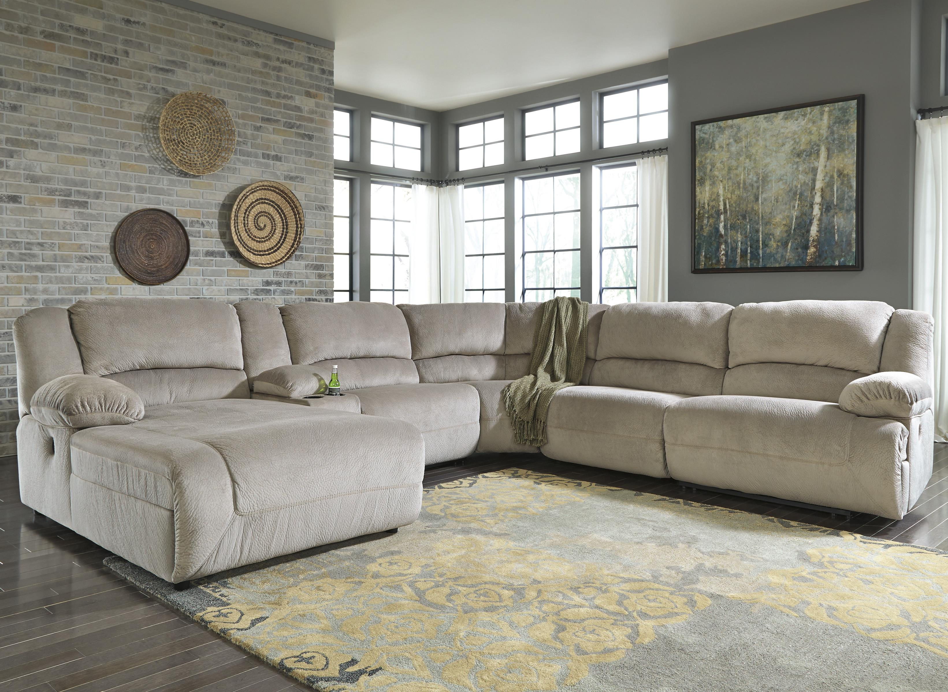 Signature Design by Ashley Toletta - Granite Reclining Sectional w/ Console & Chaise - Item Number: 5670305+57+46+77+19+41