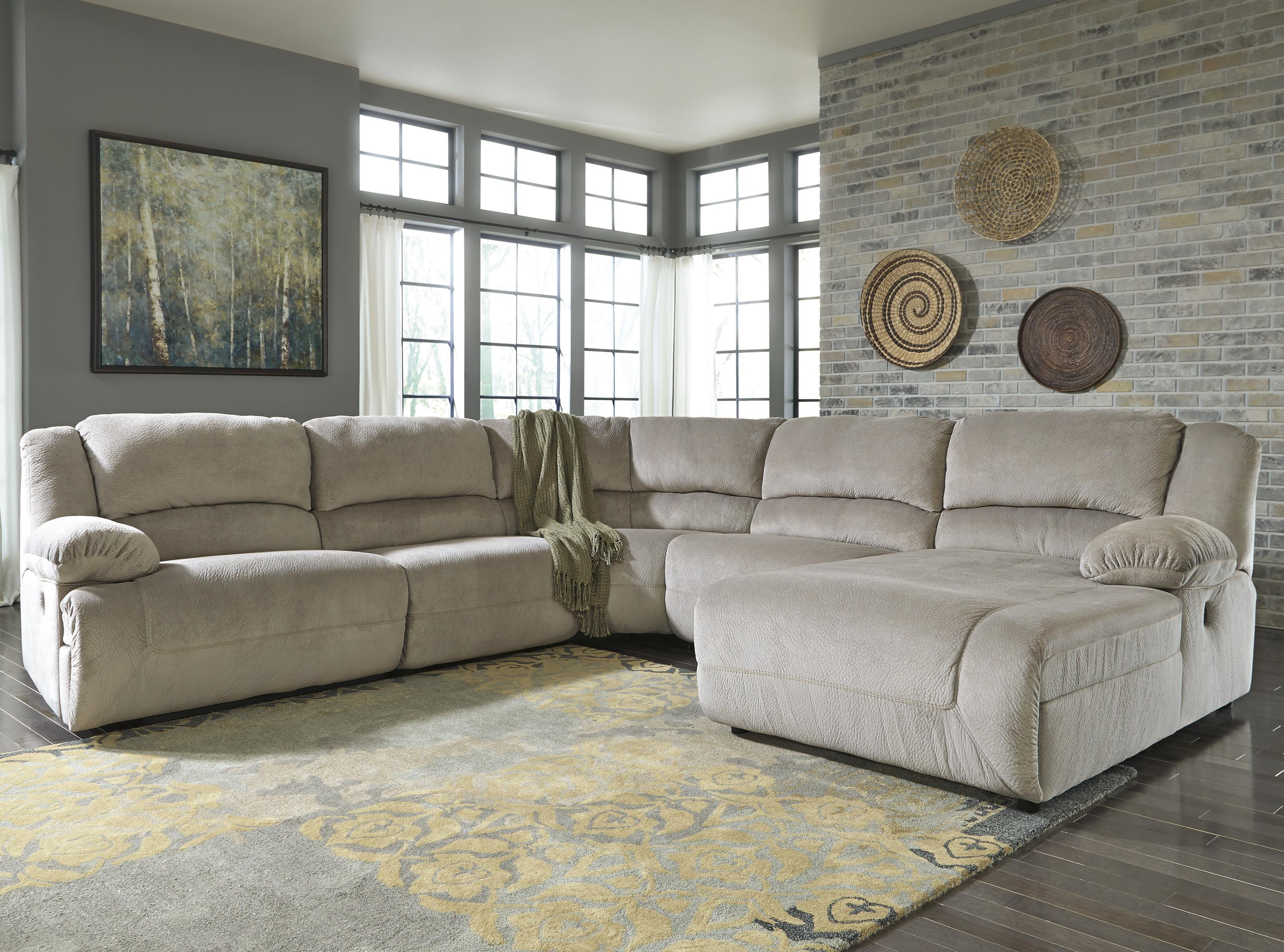 Signature Design by Ashley Toletta - Granite Reclining Sectional with Chaise  - Item Number: 5670340+2x46+77+07