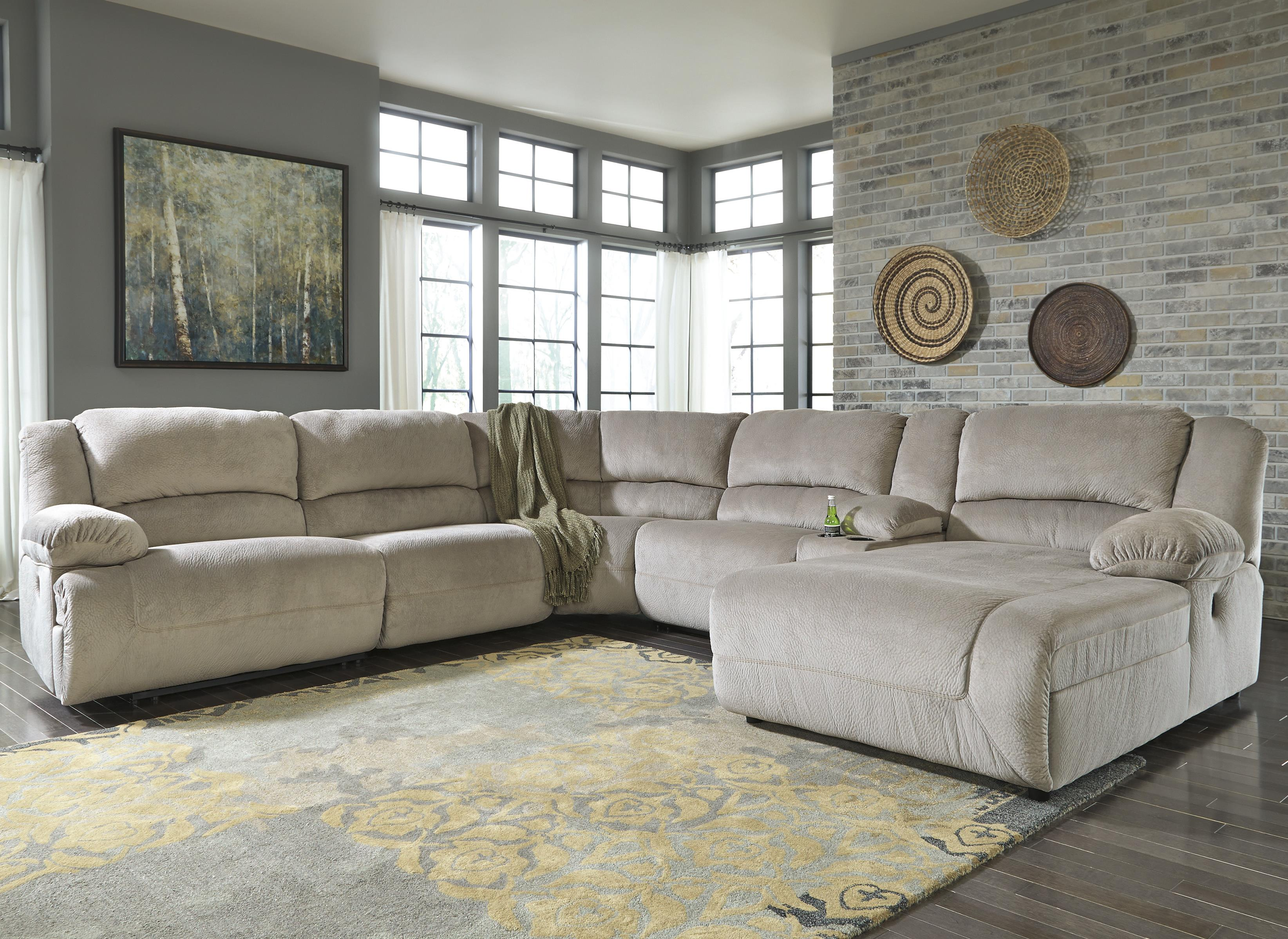 Signature Design by Ashley Toletta - Granite Reclining Sectional w/ Console & Chaise - Item Number: 5670340+19+77+46+57+07