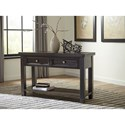 Signature Design by Ashley Townser Grayish Brown Sofa Table with 2 Drawers & Shelf