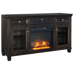 Ashley Signature Design Townser TV Stand w/ Fireplace & Small Speaker