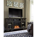 Signature Design by Ashley Townser Solid Wood Pine Large TV Stand w/ Fireplace Insert