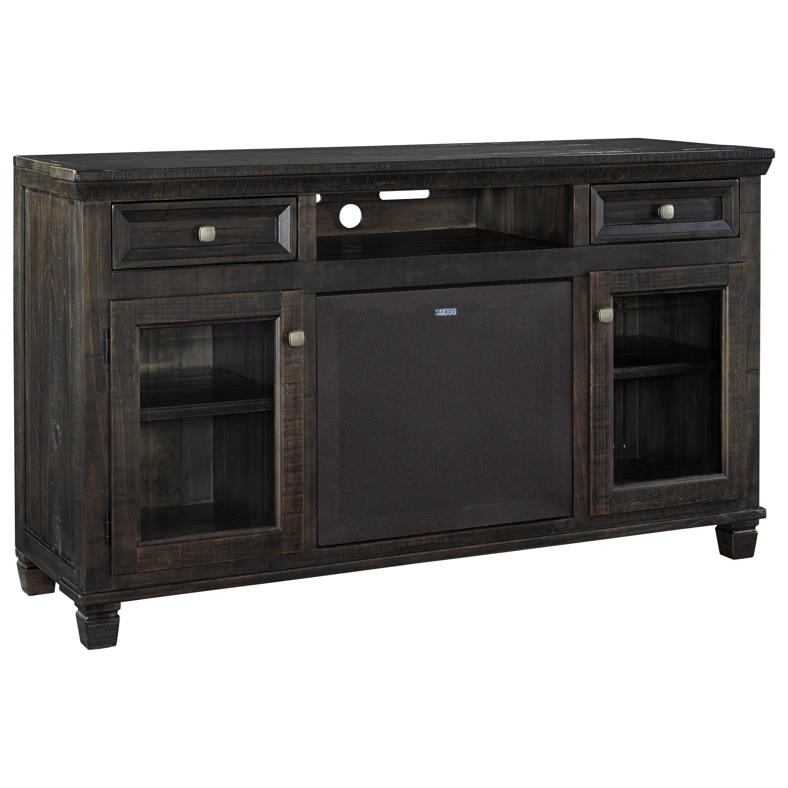 Signature Design by Ashley Townser Large TV Stand w/ Large Bluetooth Speaker - Item Number: W636-30+W100-41