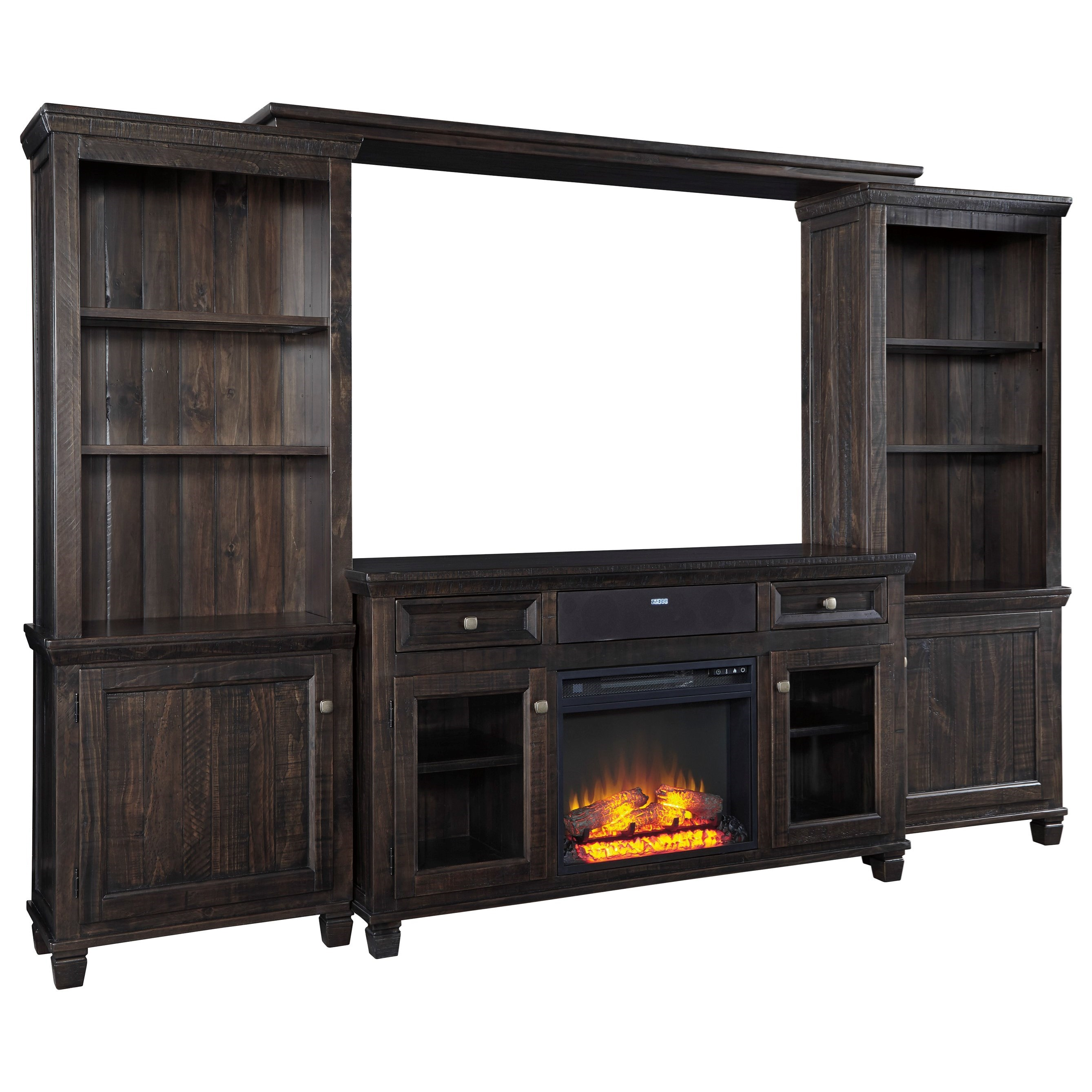Signature Design by Ashley Townser Entertainment Center w/ Fireplace & Speaker - Item Number: W636-33+30+35+34+W100-01+31