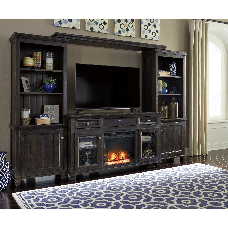 Ashley Signature Design Townser Entertainment Center W Fireplace Insert Small Bluetooth