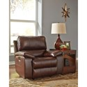 Signature Design by Ashley Transister Leather Match Power Rocker Recliner w/ Adjustable Headrest