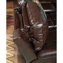 Signature Design by Ashley Transister Leather Match Power Reclining Loveseat w/ Adjustable Headrest
