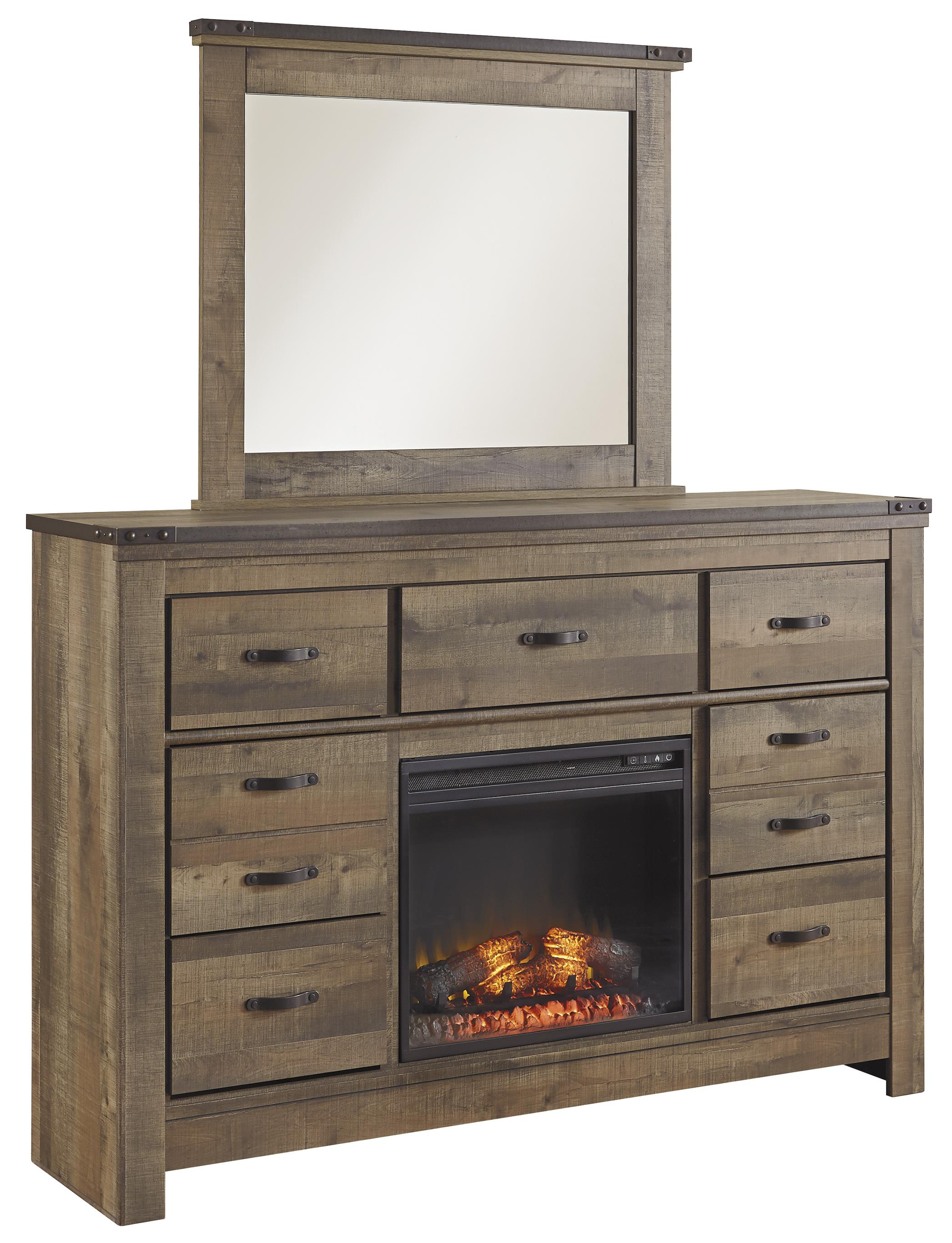 Signature Design by Ashley Trinell Dresser with Fireplace Insert & Mirror - Item Number: B446-32+W100-01+26