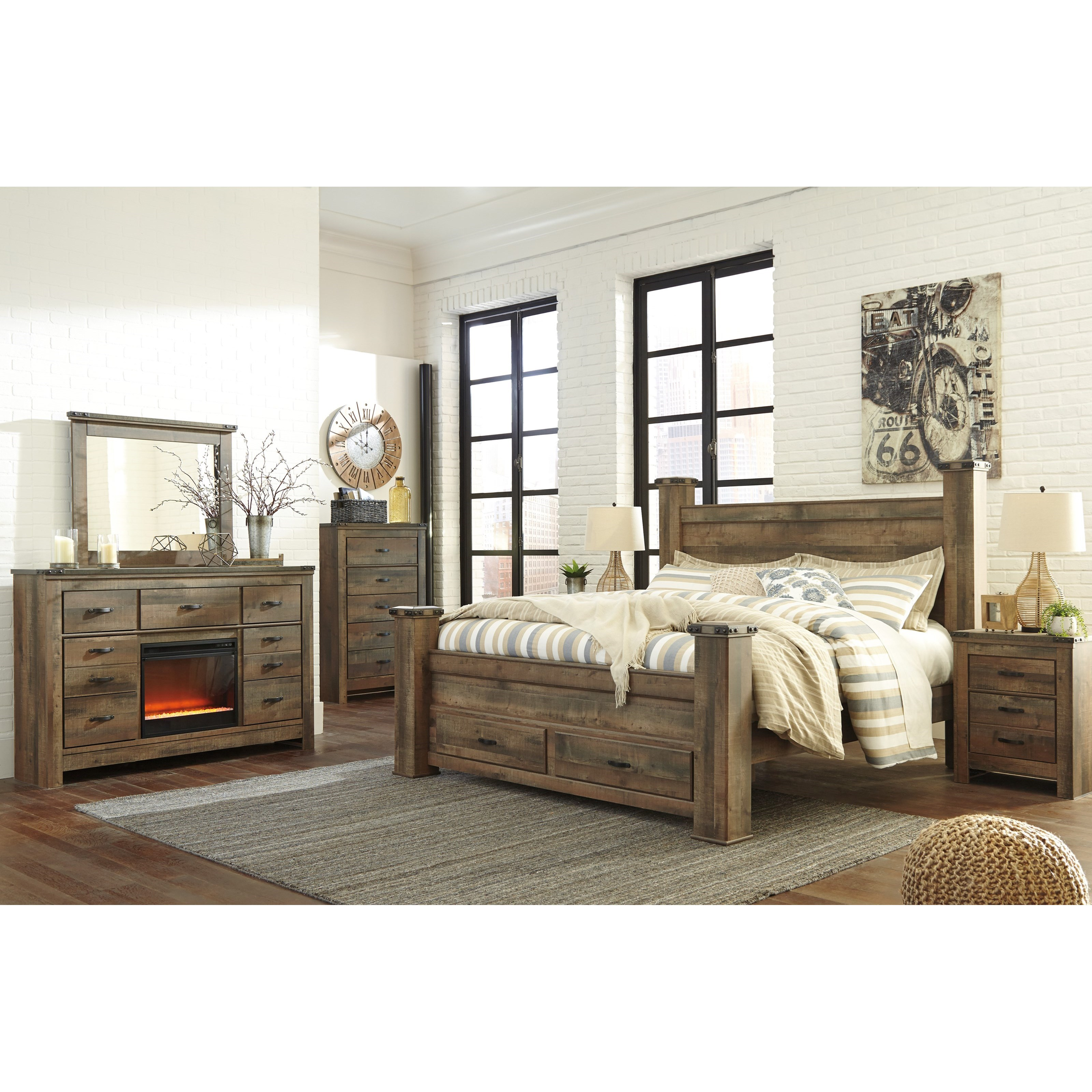 Ashley Signature Design Trinell Rustic Dresser with ...