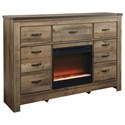 Ashley (Signature Design) Trinell Dresser with Fireplace Insert - Item Number: B446-32+W100-02