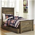 Signature Design by Ashley Trinell Twin Panel Bed w/ Under Bed Storage/Trundle - Item Number: B446-53+52+83+60