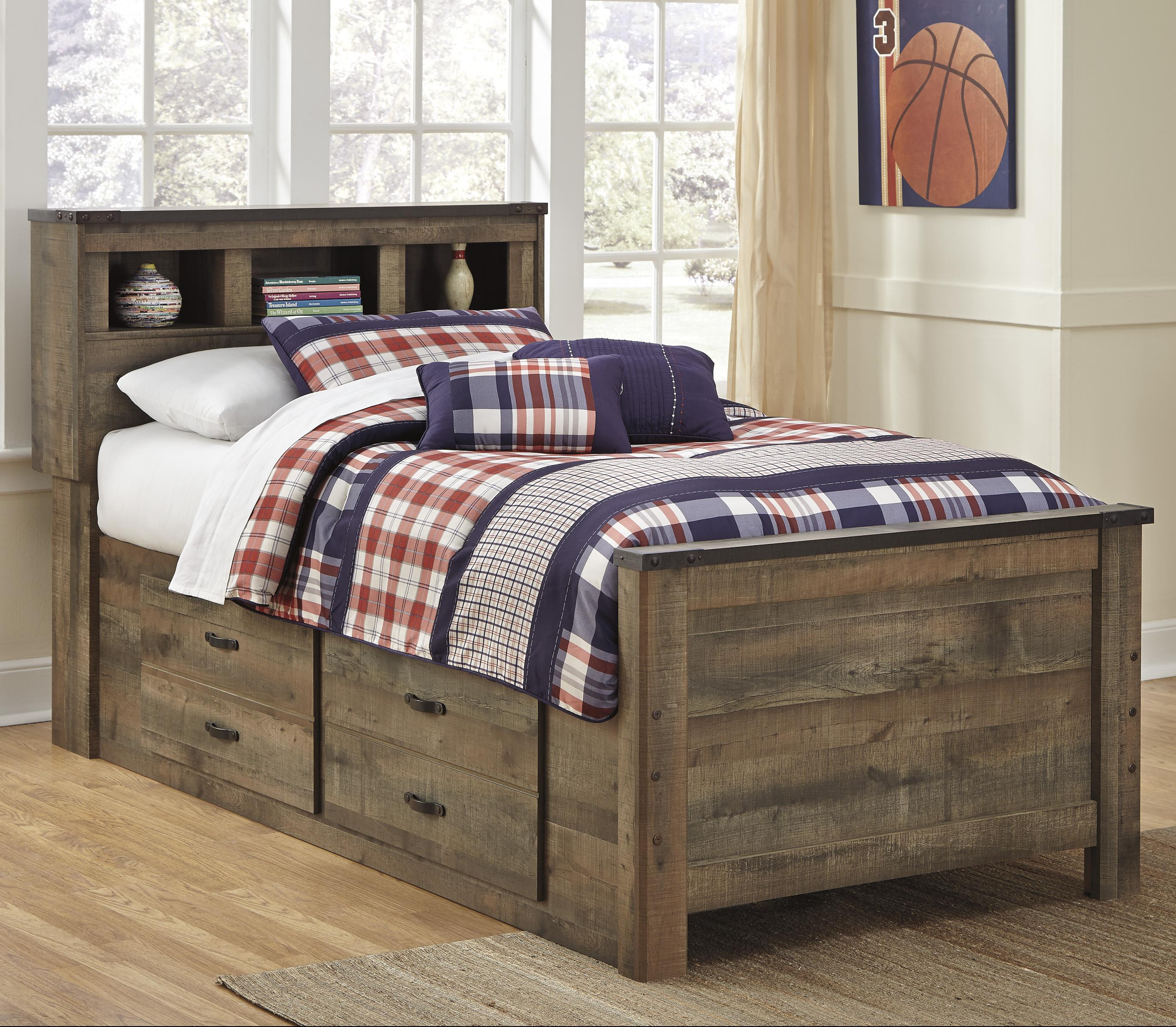Ashley rustic bedroom furniture - Signature Design By Ashley Trinell Twin Bookcase Bed With Under Bed Storage Item Number