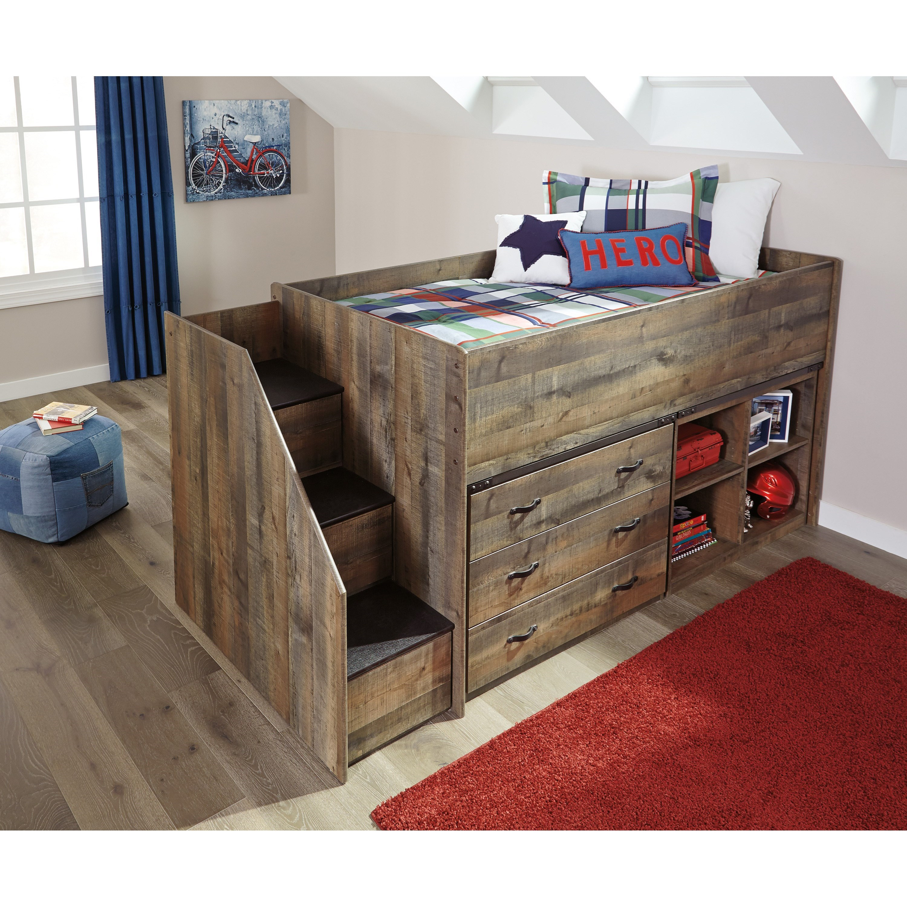 Signature design by ashley bryce loft bed w stairs bookcase drawer storage john v schultz - Loft bed with drawer stairs ...