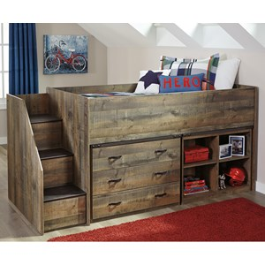 Signature Design by Ashley Trinell Loft Bed w/ Stairs, Bookcase, & Drawers