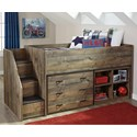 Signature Design by Ashley Trinell Loft Bed w/ Stairs, Bookcase, & Drawers - Item Number: B446-68T+13L+17+19+B100-11