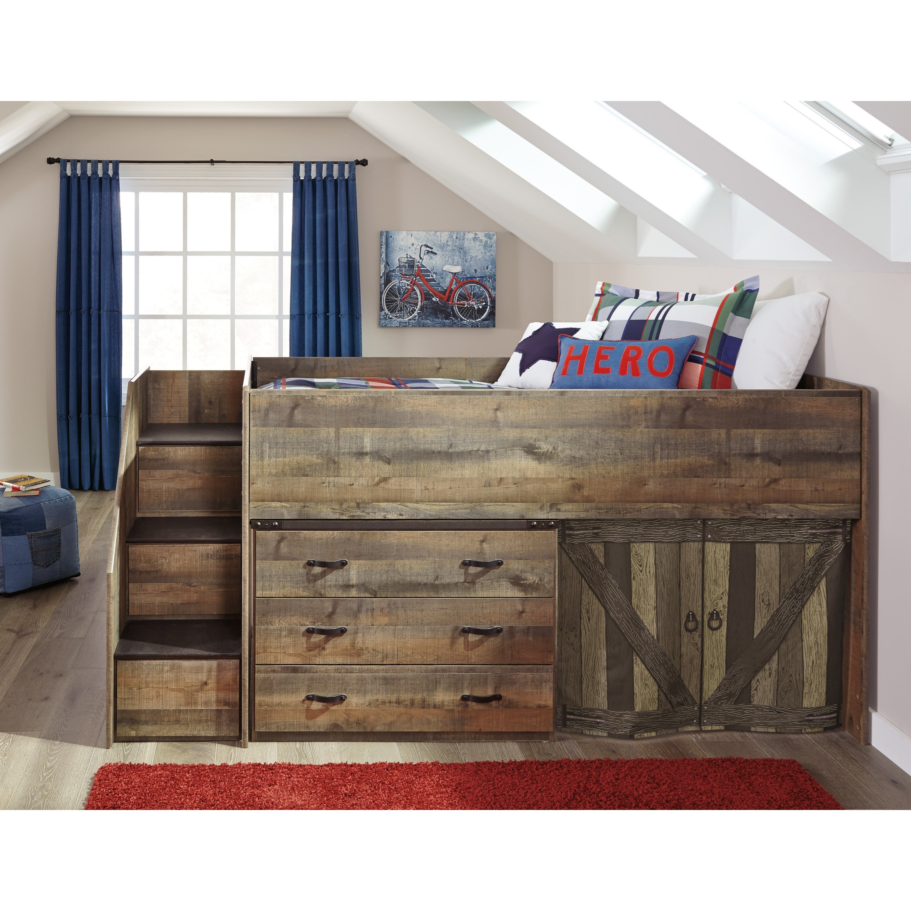 Signature design by ashley trinell loft bed with stairs and drawer storage becker furniture - Loft bed with drawer stairs ...