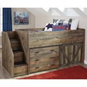 Signature Design by Ashley Trinell Loft Bed with Stairs and Drawer Storage - Item Number: B446-68T+13L+19+B100-11