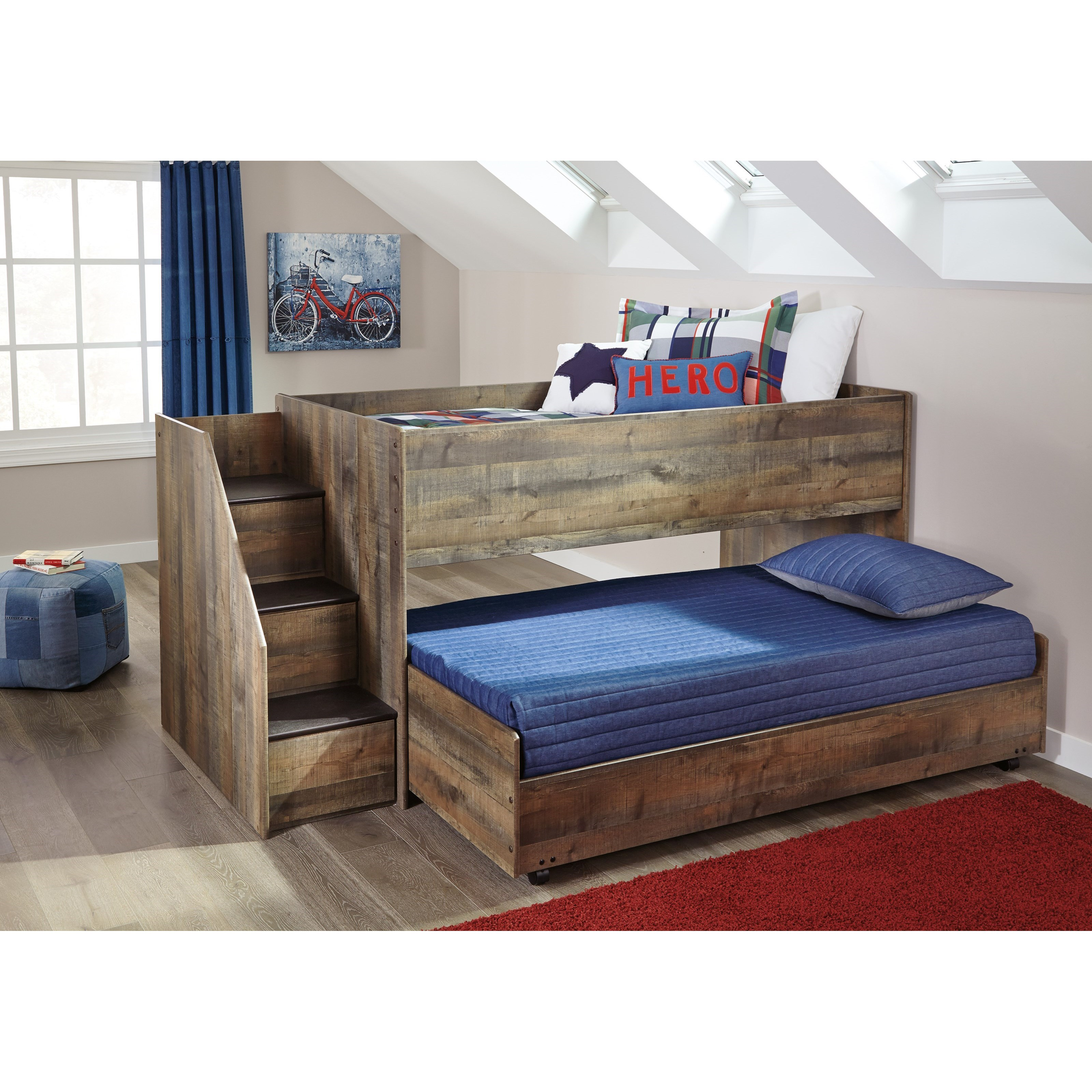 Ashley Signature Design Trinell Loft Bed With Storage Stairs Amp Caster Bed Johnny Janosik